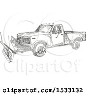 Clipart Of A Zentangle Snow Plow Pickup Truck Black And White Royalty Free Vector Illustration