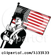 Clipart Of A Retro American Patriot Soldier With A Star Spangled Banner Royalty Free Vector Illustration