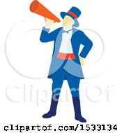 Clipart Of A Retro Circus Ringmaster Using A Megaphone Royalty Free Vector Illustration