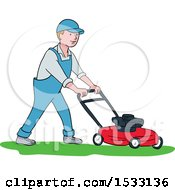Happy Male Landscaper Mowing A Lawn