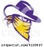 Clipart Of A White Yellow And Purple Cowboy Outlaw In A Bandana Royalty Free Vector Illustration