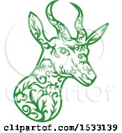 Clipart Of A Springbok Antelope Head In Green With Vine Style Royalty Free Vector Illustration by patrimonio
