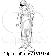 Clipart Of A Black And White Clown Pointing At The Ground Royalty Free Vector Illustration