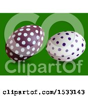 Clipart Of 3d Easter Eggs On A Green Background Royalty Free Vector Illustration by dero
