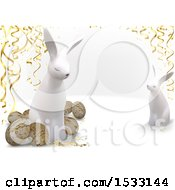 Clipart Of 3d Easter Eggs And Rabbits With Streamers On A White Background Royalty Free Vector Illustration