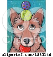 Clipart Of A Painting Of A Dog With Balls Balanced On His Head And In His Mouth Royalty Free Illustration