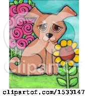Clipart Of A Painting Of A Puppy Dog In A Garden Royalty Free Illustration