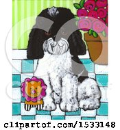 Clipart Of A Painting Of A Dog Sitting With A Toy Lion Royalty Free Illustration