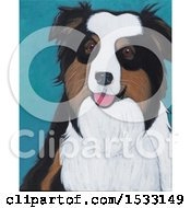 Clipart Of A Painting Of An Australian Shepherd Dog Royalty Free Illustration