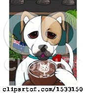 Painting Of A Dog Drinking A Coffee With A Cat Design