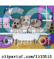 Painting Of Cats Around Puppy Dogs In A Bath Tub