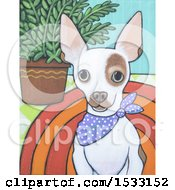 Clipart Of A Painting Of A White Chihuahua Dog Wearing A Bandana Royalty Free Illustration