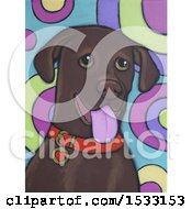Clipart Of A Painting Of A Chocolate Lab Dog Royalty Free Illustration