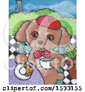 Clipart Of A Painting Of A Dog Eating A Croissant And Drinking Coffee In Paris Royalty Free Illustration