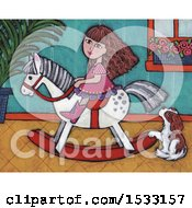 Poster, Art Print Of Painting Of A Girl Riding A Rocking Horse By A Dog