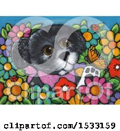 Clipart Of A Painting Of A Dog Playing With A Butterfly In A Garden Royalty Free Illustration