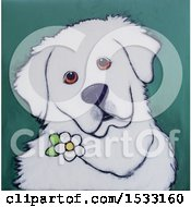 Clipart Of A Painting Of A Great Pyrenees With A Flower Royalty Free Illustration