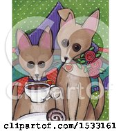 Clipart Of A Painting Of Dogs With Coffee Royalty Free Illustration