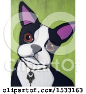 Painting Of A Boston Terrier Dog Wearing A Necklace Collar