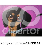 Clipart Of A Painting Of A Dachshund Dog Wearing A Diamond Collar Royalty Free Illustration