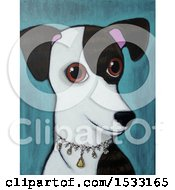 Clipart Of A Painting Of A Greyhound Dog Wearing A Diamond Collar Royalty Free Illustration
