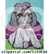 Painting Of A Shi Tzu Dog Wearing A Diamond Collar