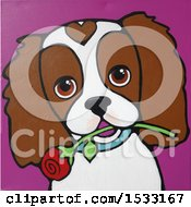 Painting Of A Cavalier King Charles Spaniel Dog With A Rose In Its Mouth