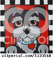 Painting Of A Schnauzer Dog With A Heart Collar In A Checkered Frame