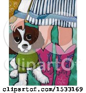 Clipart Of A Painting Of A Girl Wearing Boots Petting Her Dog Royalty Free Illustration