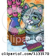 Poster, Art Print Of Painting Of A Frisky Cat Getting Into Yarn