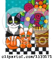 Clipart Of A Painting Of Ginger And Tuxedo Cats By Potted Flowers Royalty Free Illustration