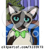 Painting Of A Siamese Cat Wearing A Bowtie