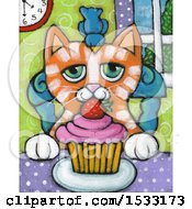 Painting Of A Bird On A Ginger Cats Head With A Cupcake On A Table