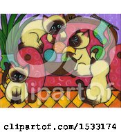 Clipart Of A Painting Of Siamese Kittens Getting Into Yarn Royalty Free Illustration