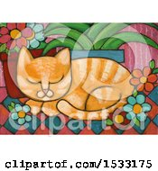 Poster, Art Print Of Painting Of A Ginger Cat Resting By Potted Plants