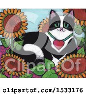 Clipart Of A Painting Of A Tuxedo Cat In A Bed Of Sunflowers Royalty Free Illustration