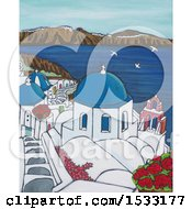 Poster, Art Print Of Painting Of Santorini On A Sunny Day