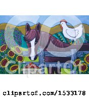 Clipart Of A Painting Of A Chicken On A Horse Royalty Free Illustration