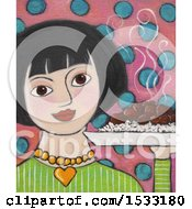 Poster, Art Print Of Painting Of A Woman Holding A Hote Plate Of Adobo