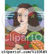 Painting Of Mona Lisa With Roses