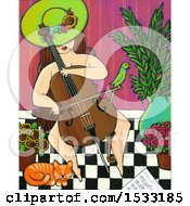 Clipart Of A Painting Of A Nude Woman Playing A Cello With Her Bird On Her Bow And Cat At Her Feet Royalty Free Illustration