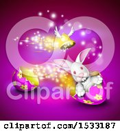 Clipart Of A Winged Bell Over A Bunny Rabbit Driving An Easter Egg Shell On Purple Royalty Free Vector Illustration