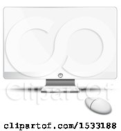 Clipart Of A Desktop Computer With A Blank Screen Royalty Free Vector Illustration