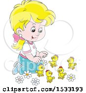 Blond Caucasian Girl Kneeling And Playing With Spring Chicks