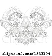 Clipart Of A Black And White Floral Heart With Peacocks Grapes And An Easter Egg Royalty Free Vector Illustration