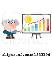Clipart Of A Male Science Professor Discussing Bitcoin Royalty Free Vector Illustration