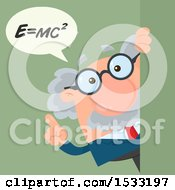 Clipart Of A Male Science Professor Discussing Mass Energy Equivalence  Looking Around A Sign Or Corner On Green Royalty Free Vector Illustration