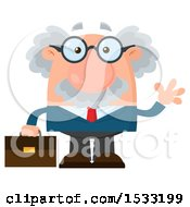 Clipart Of A Male Science Professor Holding A Briefcase And Waving Royalty Free Vector Illustration by Hit Toon