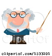 Clipart Of A Male Science Professor Holding A Pointer Stick Royalty Free Vector Illustration by Hit Toon