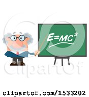 Clipart Of A Male Science Professor Discussing Physics Holding A Pointer Stick To A Chalkboard Royalty Free Vector Illustration